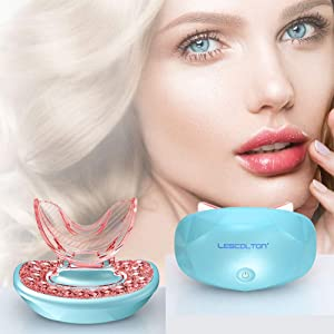 Lescolton Lip Plumper Device Lip Plumping Fuller Lips Rechargeable Lip Enhancer Tool Light Therapy Lip Care Anti-Aging for Sexy Lips (Blue)