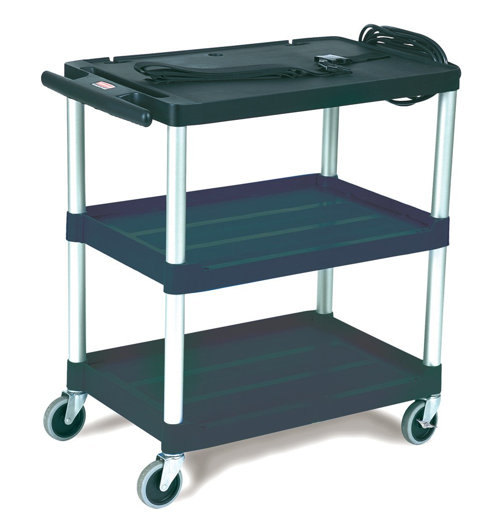 Rubbermaid 9T28 Black Media Master AV Cart with Three Shelves