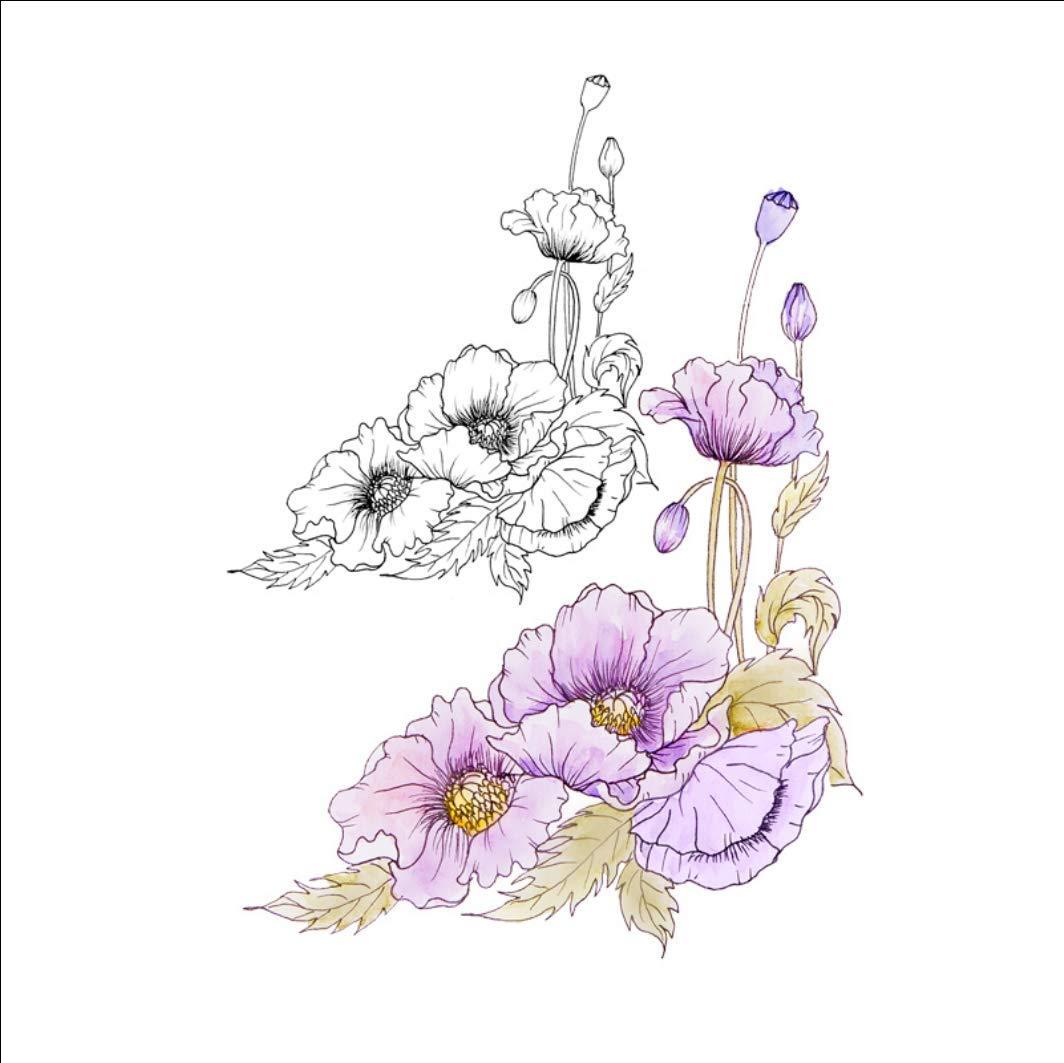 Ruofengpuzi Adesivo Tatuaggiooriginal Dream Hollyhock Flor Brazo ...