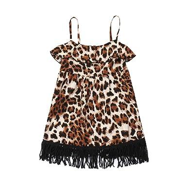 9af816416 kaifongfu Summer Toddler Kid Baby Girl Leopard Print Tassel Party  Sleeveless Princess Dress(Yellow)