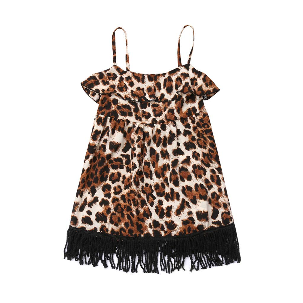 Baby Girls Dress Sexy Leopard Printed Tassel Sling Party Princess Dresses Clothes (Yellow, 2-3 Years)