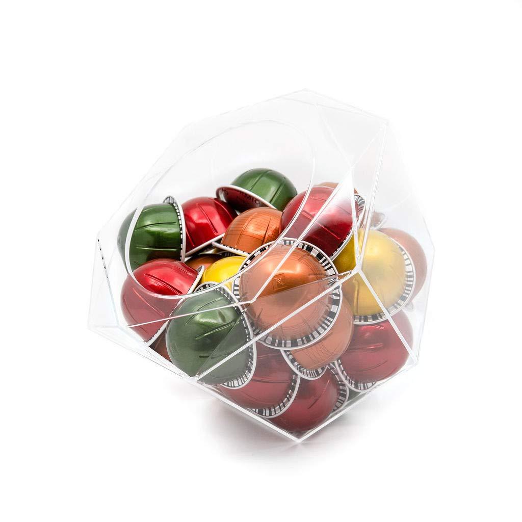 Verre Collection Hexagon Plexiglass Capsule Pod Holder, Compatible for Nespresso Vertuoline, K-Cups, Dolce Gusto, Clear Dispenser, Storage Solution by Verre Collection