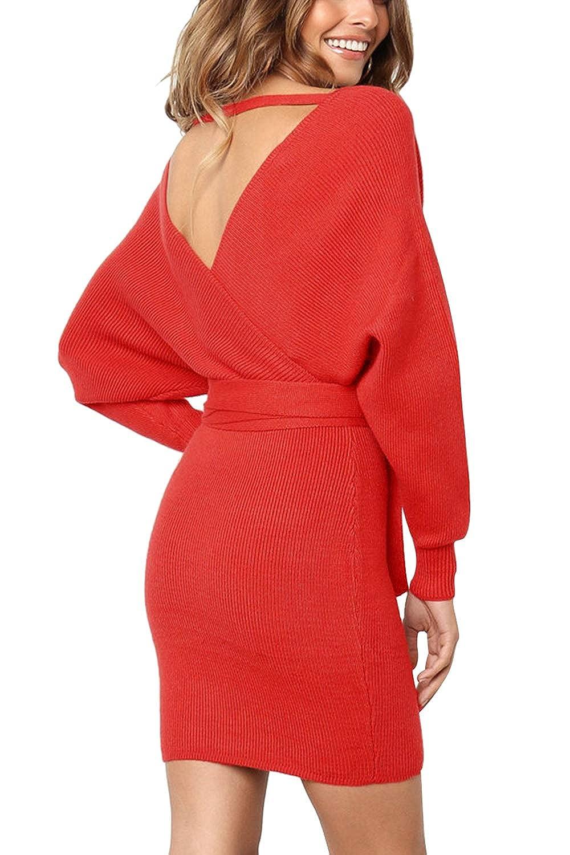 ee50f1efeb0 Meenew Women s Long Sleeve Open Back Wrap Bodycon Mini Sweater Dress Belt  at Amazon Women s Clothing store