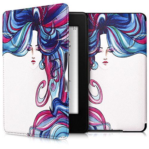 kwmobile Elegant synthetic leather case for the Amazon Kindle Paperwhite Rainbow Girl in blue dark pink white by kwmobile