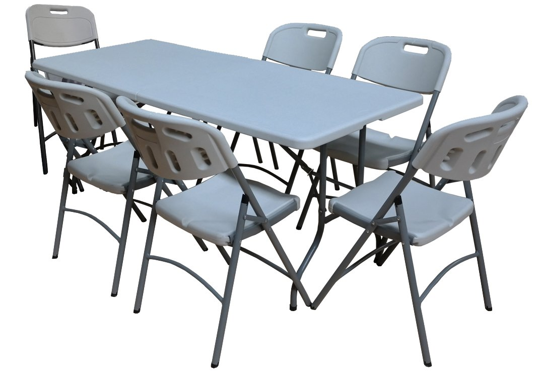 Tremendous Blown Moulded 6Ft Folding Table And Chairs Set Strong Metal Frame Garden Camping Spiritservingveterans Wood Chair Design Ideas Spiritservingveteransorg