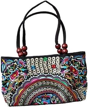 Vintage anvas Shoulder Small Boho Ethnic Embroidery Bag Beach Purse