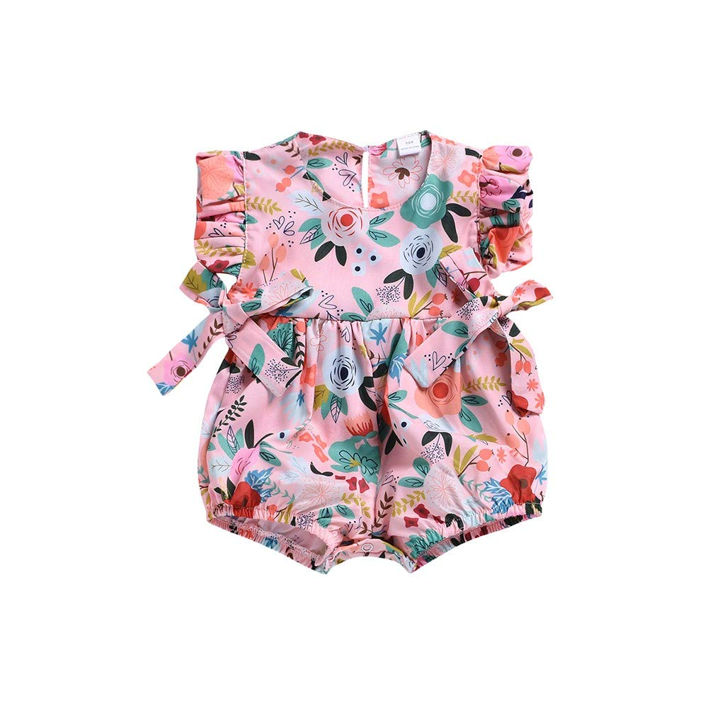 NUWFOR Toddler Baby Boys Girls Sleeveless Bow-Knot Flower Print Romper Jumpsuit (Pink,18-24Months)