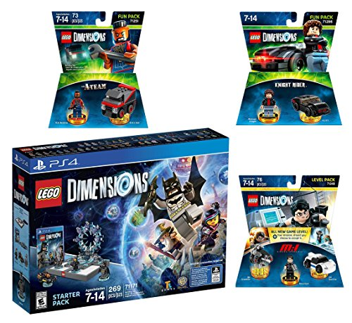 Lego Dimensions Demolition Starter Pack + Mission Impossible Level Pack + A-Team Fun Pack + Knight Rider Fun Pack for Playstation 4 or PS4 Pro Console by WB Lego