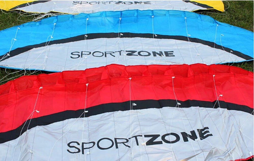 2.5m Dual Line Stunt Parafoil Kites Soft Stunt Kite for Beach Blue,red,Green,Yellow Color with Flying Tool