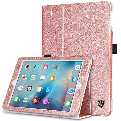 iPad 2017 iPad 9.7 inch Case, BENTOBEN Glitter Sparkle Folio Folding Stand Smart Cover Stylus Holder Auto Wake/Sleep Luxury Faux Leather Protective Case for New iPad 9.7 Inch (2017), Rose Gold
