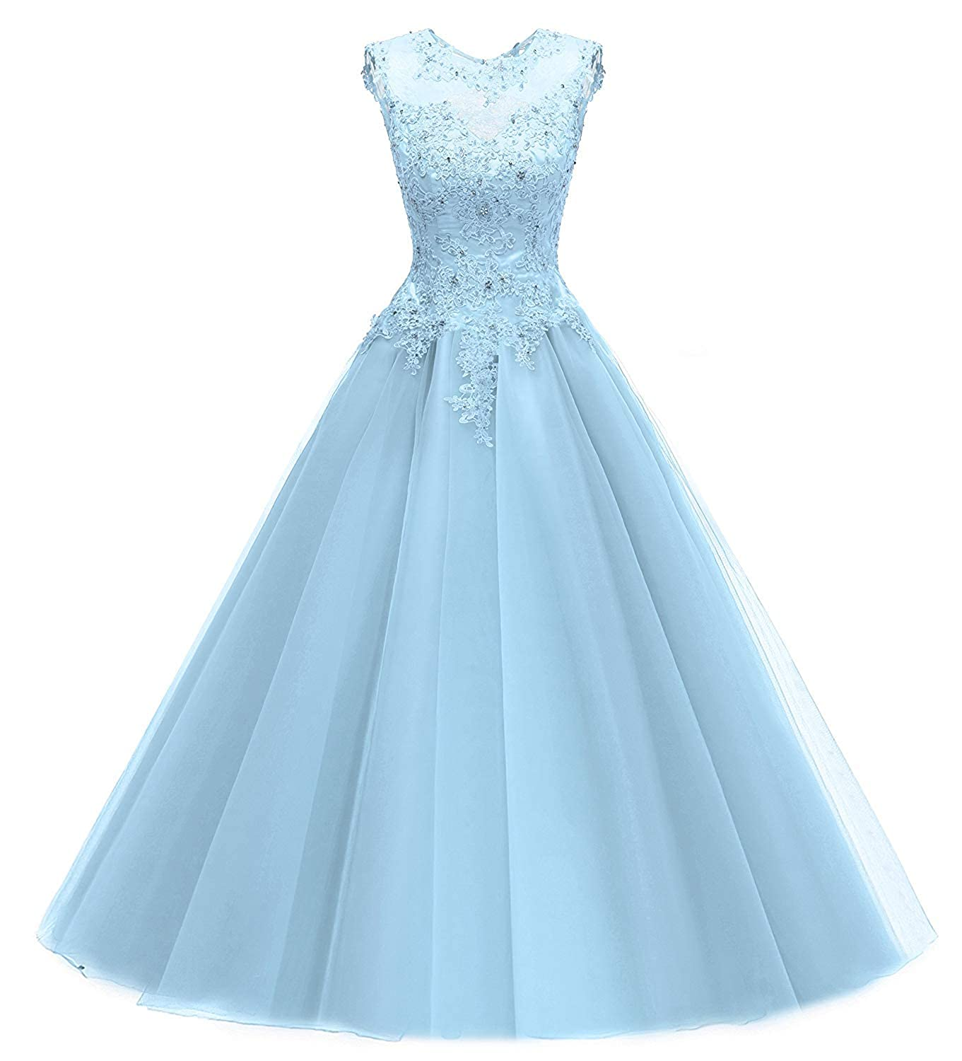 Baby bluee PromQueen Women Quinceanera Dresses Lace Beading Evening Party Dress Sequined Appliques Prom Gown Long