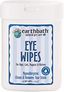 product image for Earthbath Pet Hypo-Allergenic Eye Wipes - Fragrance & Alcohol Free, Cleans and Removes Tear Stains, for Dogs, Cats, Puppies, Kittens - Keep Your Pet's Eyes Clean and Free - 25 Count