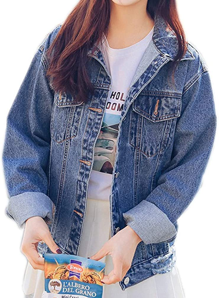 HOSOME Women Jeans Chain Jacket Plus Size Casual Ladies Denim Oversize Pocket Coat
