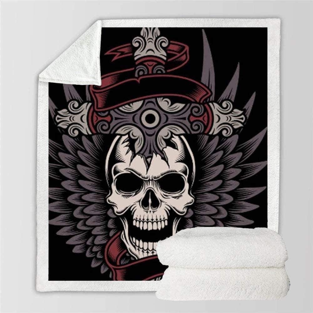HDAXIA Mantas,Personalidad Cruces Cráneo 3D Manta De Impresión Digital Suave Cama Manta Sherpa Felpa Franela Cálida Manta De Sofá Manta para Niños Ropa De Cama-150×200Cm