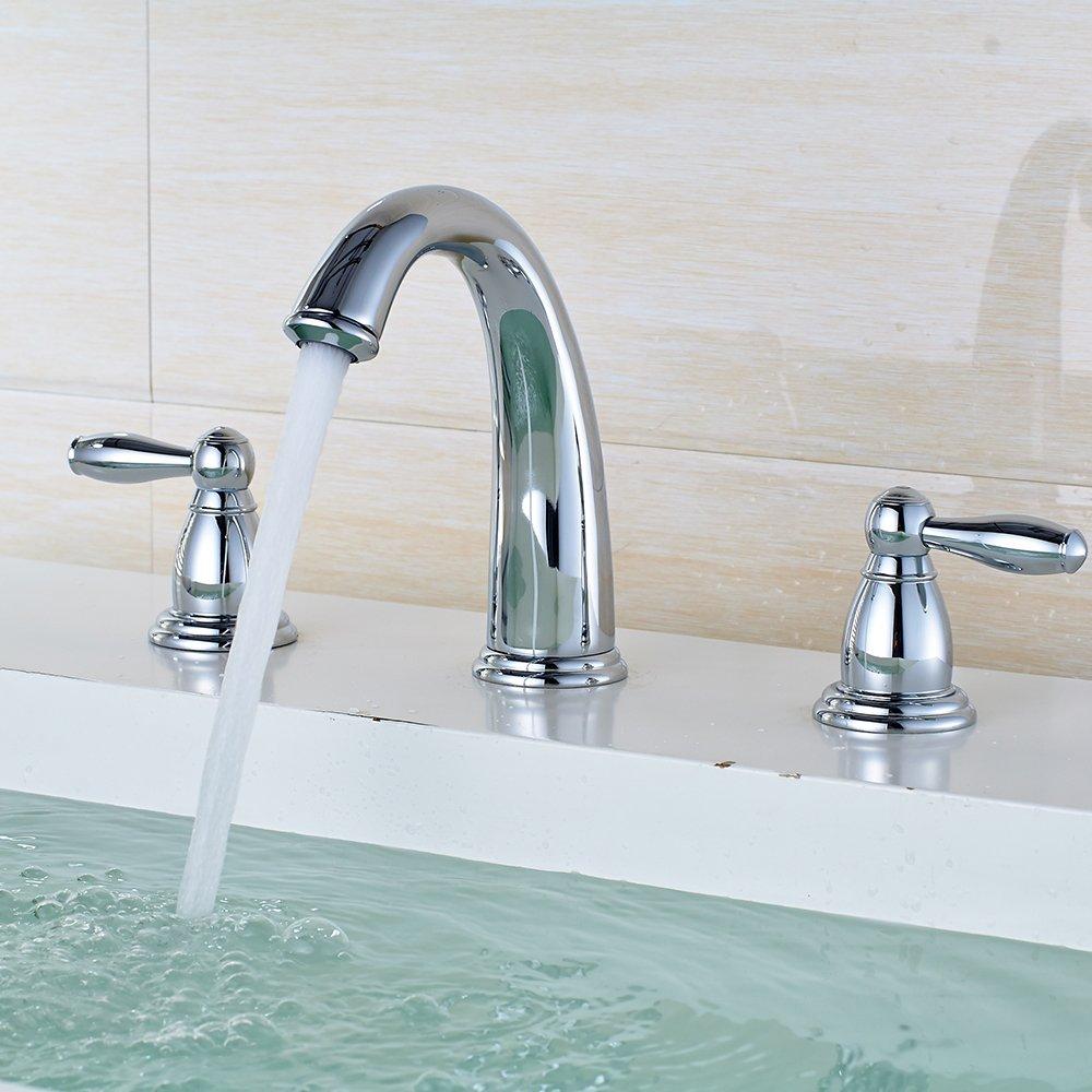 JRUIA Retro 3 Loch Waschtischarmatur Nostalgie Bad Wasserhahn Zweigriff Mischbatterie Waschbecken Armatur Wannenrandarmatur Waschtischbatterie f/ür Badezimmer aus Messing Chrom