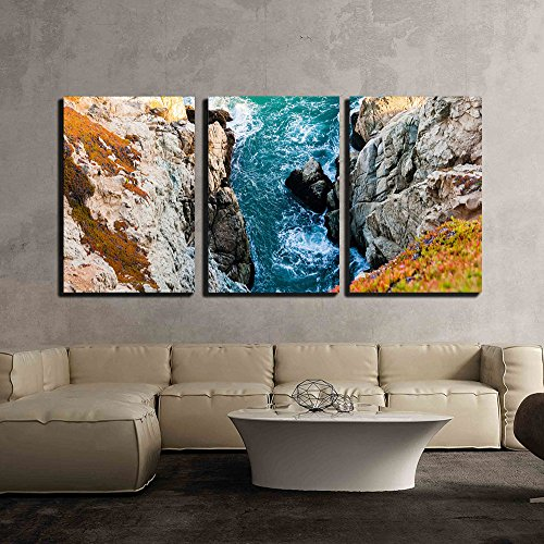 Seashore with Rock Mountain x3 Panels