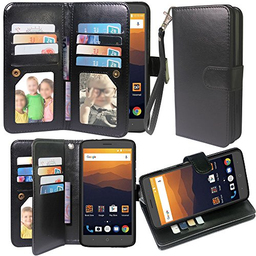 ZTE MAX XL Case,Harryshell Luxury 12 Card Slots Shockproof Kickstand PU Leather Wallet Flip Protective Case Cover with Wrist Strap for ZTE MAX XL N9560 (Black)
