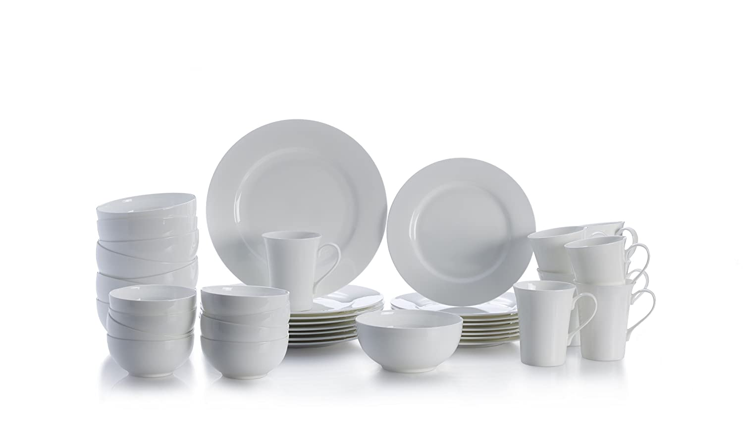 Mikasa Delray White 40-Piece Bone China Dinnerware Set Service for 8 | ChristmasTablescapeDecor.com