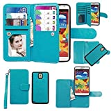 note 2 wallet case - xhorizon Premium Leather Folio Case[Wallet Function] [Magnetic Detachable] Fashion Wristlet Lanyard Hand Strap Purse Multiple Card Slots Cash Compartment Pocket for Samsung Galaxy Note 2/II (N7100)