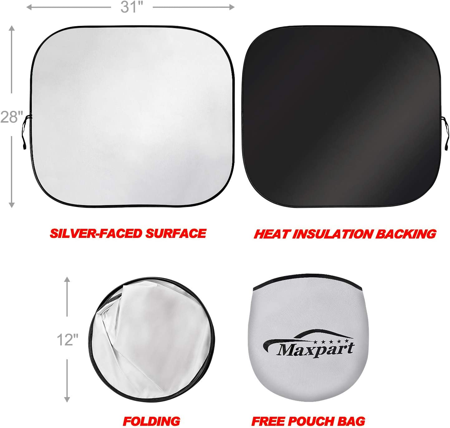 Windshield Sun Shade 2-Piece Foldable Car Front Window Sunshades Sun Visor Protector Blocks 99/% UV Rays and Keeps Your Vehicle Cool for Most Sedans SUV Truck Universal Fit
