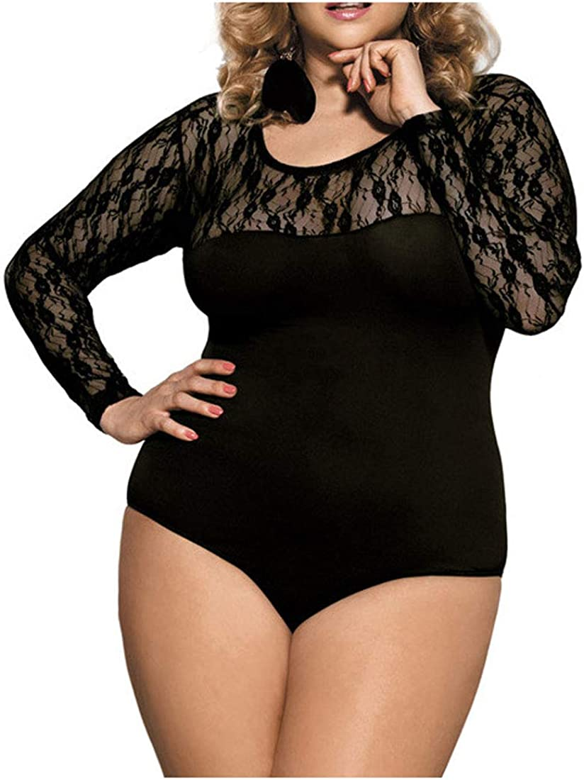 NatrE Women Long Sleeve Tights Lace Plus Size Invisible Comfy Body Shaping Jumpsuit