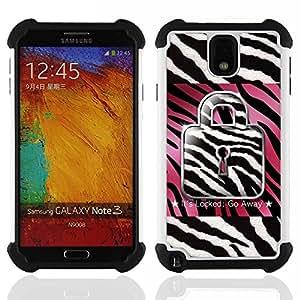 """SAMSUNG Galaxy Note 3 III / N9000 / N9005 - 3 en 1 impreso colorido de Altas Prestaciones PC Funda chaqueta Negro cubierta gel silicona suave (Zebra Rosa Blanco Negro Cita texto"""")"""