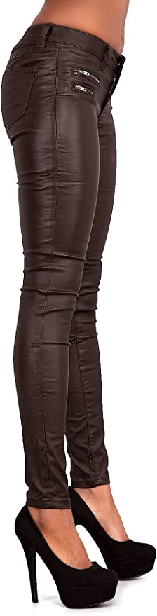 Ladies Women Leather Look Leggings Wet Look Trousers Slim Fit Jeans Size 6-14