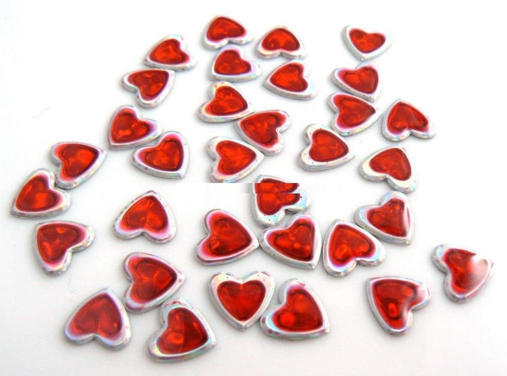 Borchie borchia cuore rosso 9mm 50pz hotfix Termoadesivi strass heart adesivi Giorgetti Strass