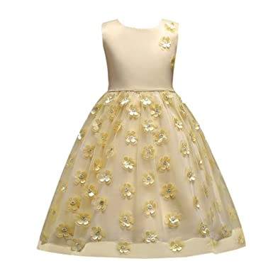 c86c682cb76d4 Zhhlinyuan 子供ドレス フォーマル Girl Ball Gown 3D Flower A-Line Wedding Birthday  Party Dresses
