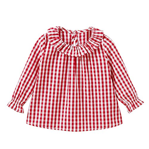 Napoo-baby outfits Toddler Kids Girls Lantern Long Sleeve Plaid Ruffles Cotton Shirt (18M, Red) ()