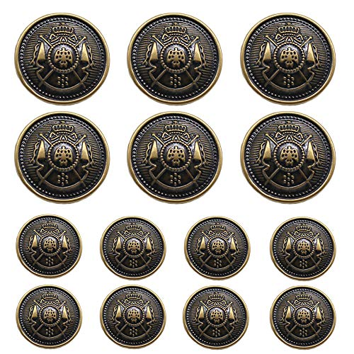 (YaHoGa 14 Pieces Antique Metal Buttons 15mm 20mm Blazer Buttons Set for Blazers, Suits, Sport Coat, Uniform, Jackets (MB20170) )