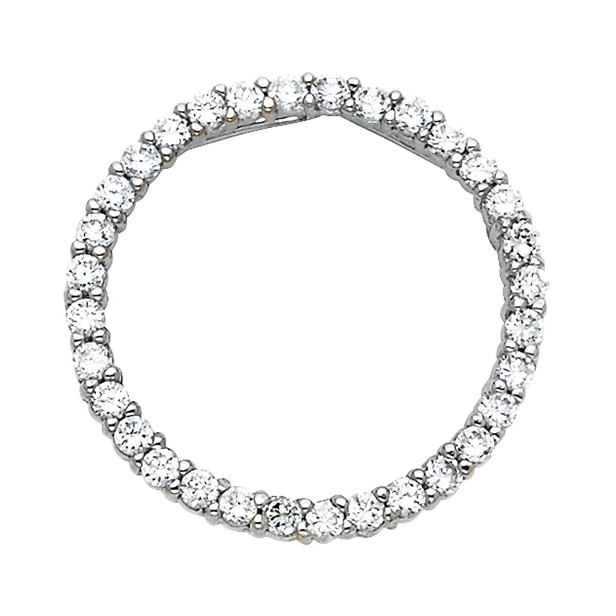 14k White Gold Journey Circle of Life CZ Pendant Height 18 MM Width 18 MM