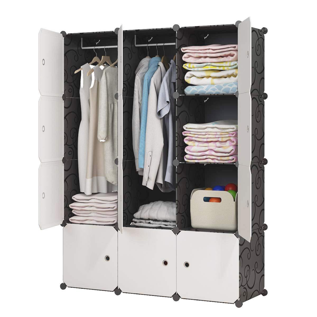 KOUSI Portable Closet Wardrobe Closet Clothes Closet Bedroom Armoire Storage Organizer with Doors, Spacious & Sturdy, Extra Space & Durable Black, 6 Cubes 2 Hanging Clothes