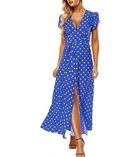 127c6bdf8 Sannysis Falda Mujer Vestidos Largos de Verano, Lunares Vestido ...