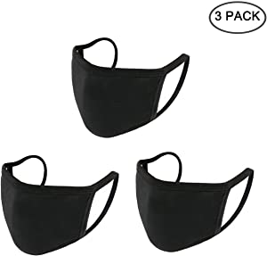 Yoodelife Anti-dust Black Mouth Mask, Unisex Cotton Face Mask Muffle Mask Anime Mask for Cycling Travel Outdoors for Adult Men Women,Style 2, Pack of 3