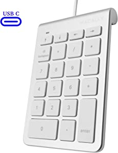 Macally Wired USB C Numeric Keypad Keyboard for Type C Laptop, Apple Mac iMac MacBook Pro/Air, Windows PC, or Desktop Computer with 5 Foot Cable & 22 Key Slim Number Pad Numerical Numpad - Silver