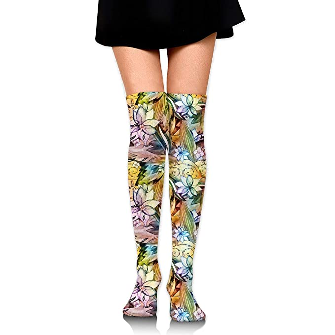 Amazoncom Floral Watercolor Pattern Girls Crochet Thigh High Socks