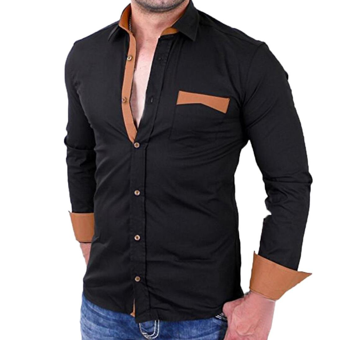 Mens Shirts Clearance Sale vermers Men Casual Pullover Patchwork Long Sleeve Pocket T-Shirt Top Blouse(L, Black)