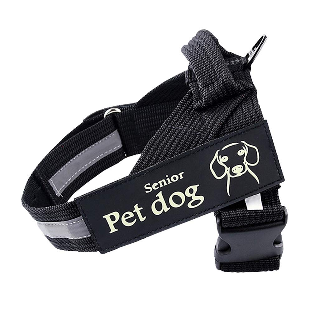 BLACK Xl BLACK Xl Dog Vest Harness, Chest Strap with Handle Adjustable Pet Reflective Mesh Outdoor Training Walking for Large Medium Small Dog Safety Traction (color   Black, Size   XL)