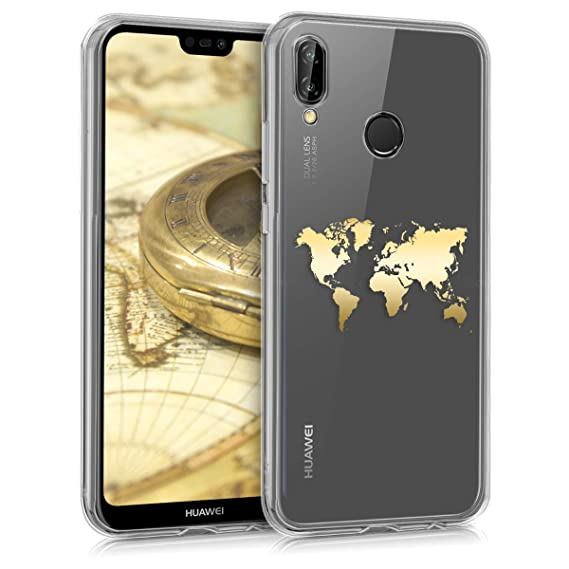 kwmobile TPU Case for Huawei P20 Lite - Soft TPU Silicone Cover - Crystal Clear Back Case IMD Design - Gold/Transparent