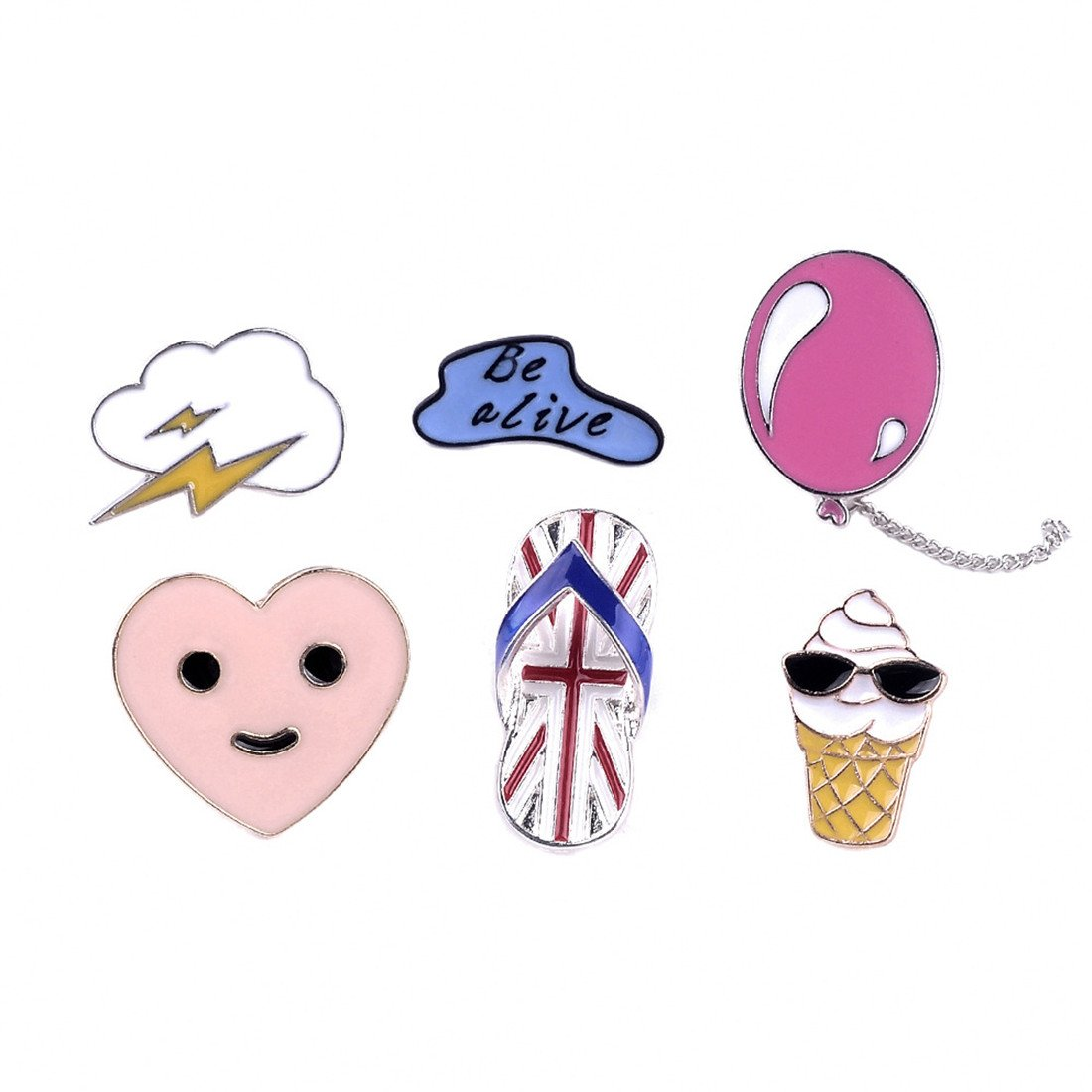 Onnea Enamel Brooch Pin Set Brooches Patches for Clothes/Bags/Backpacks (Lightning balloon pin set)