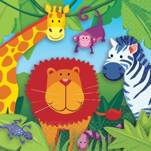 Jungle Animals ~ Edible Icing Image Cake Topper