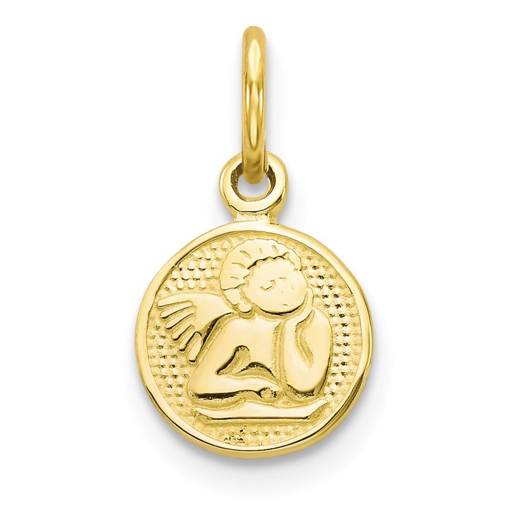 Angel Coin Pendant Round Medal Charm Fashion 10K Yellow Gold