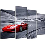 "PICTURE - Multi Split Panel Canvas Artwork Art -Red Sports Car On The Road - ART Depot OUTLET - 4 Panel - 101cm x 71cm (40""x28"")"