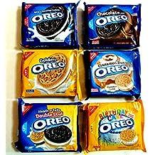 OREO COOKIES Ultimate WINTER VARIETY PACK: 1 pack of: CINNAMON BUN, BIRTHDAY CAKE FLAVORED CREAM, ORIGINAL, HEADS OR TAILS DOUBLE STUFF, CHOCOLATE CREAM, GOLDEN by Oreo