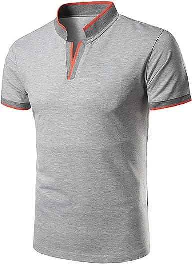 Sylar Casual Polo Manga Corta para Hombre Camiseta de Algodón Slim Fit Camisetas Basicas Hombre con Cuello en V Camisa Hombre T-Shirt Blusas: Amazon.es: Ropa y accesorios