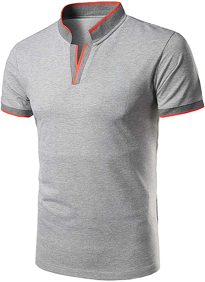 BHYDRY Camiseta Hombre Casual para Hombres de pie Cuello Juvenil de Manga Corta Camisa Polo Blusa: Amazon.es: Ropa y accesorios