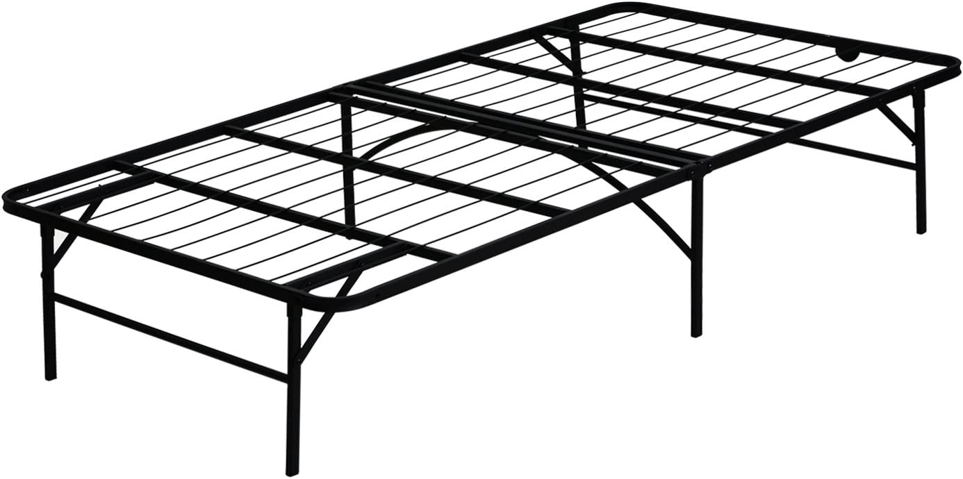 FURINNO Angeland Mattress Foundation Platform Metal Bed Frame, Twin, Black