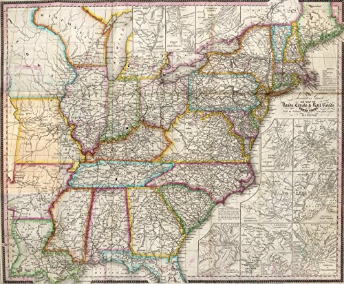 Historic Map | Guide Book, Travellers Guide Through The United States 1840 | Historical Antique Vintage Decor Poster Wall Art | 24in x ()