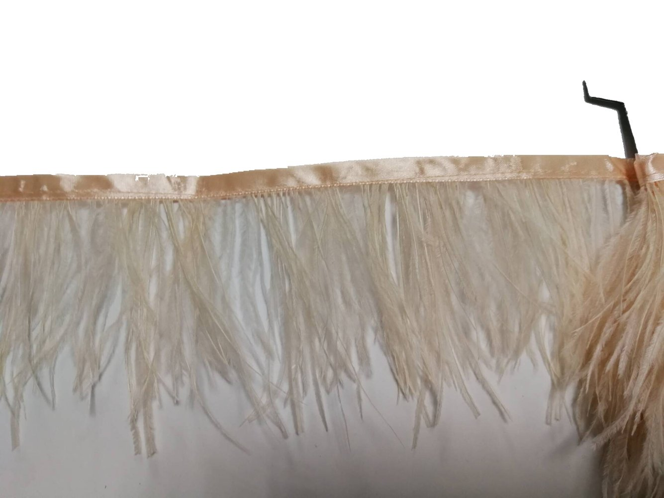 Champagne KOLIGHT Pack of 5 Yards Natural Dyed Ostrich Feathers Trim Fringe 4~5inch for DIY Dress Sewing Crafts Costumes Decoration